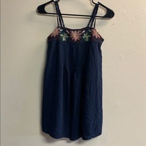 American Eagle flowy embroidered tank top blue XXS